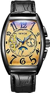 SEWOR Mens Automatic Business Dress Tonneau Shaped Moon Phase Wrist Watch Mechanical Self Wind