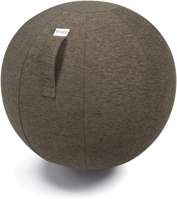 VLUV STOV Stoff-Sitzball, ergonomisches Sitzmbel für Büro und Zuhause, Farbe  Greige (grau),  70cm - 75cm, hochwertiger Mbelbezugsstoff, robust und formstabil, mit Tragegriff