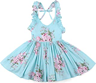 Vintage Floral Summer Girl Dress Easter Cotton Casual Toddler Party Sundress