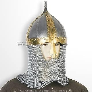Medieval Gears Brand Functional Medieval Russian Helmet 16 Gauge Steel with Chainmail Camail SCA WMA