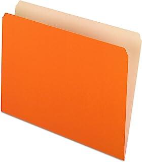 Pendaflex Two-Tone Color File Folders, Letter Size, Orange, Straight Cut, 100/BX (152 ORA)