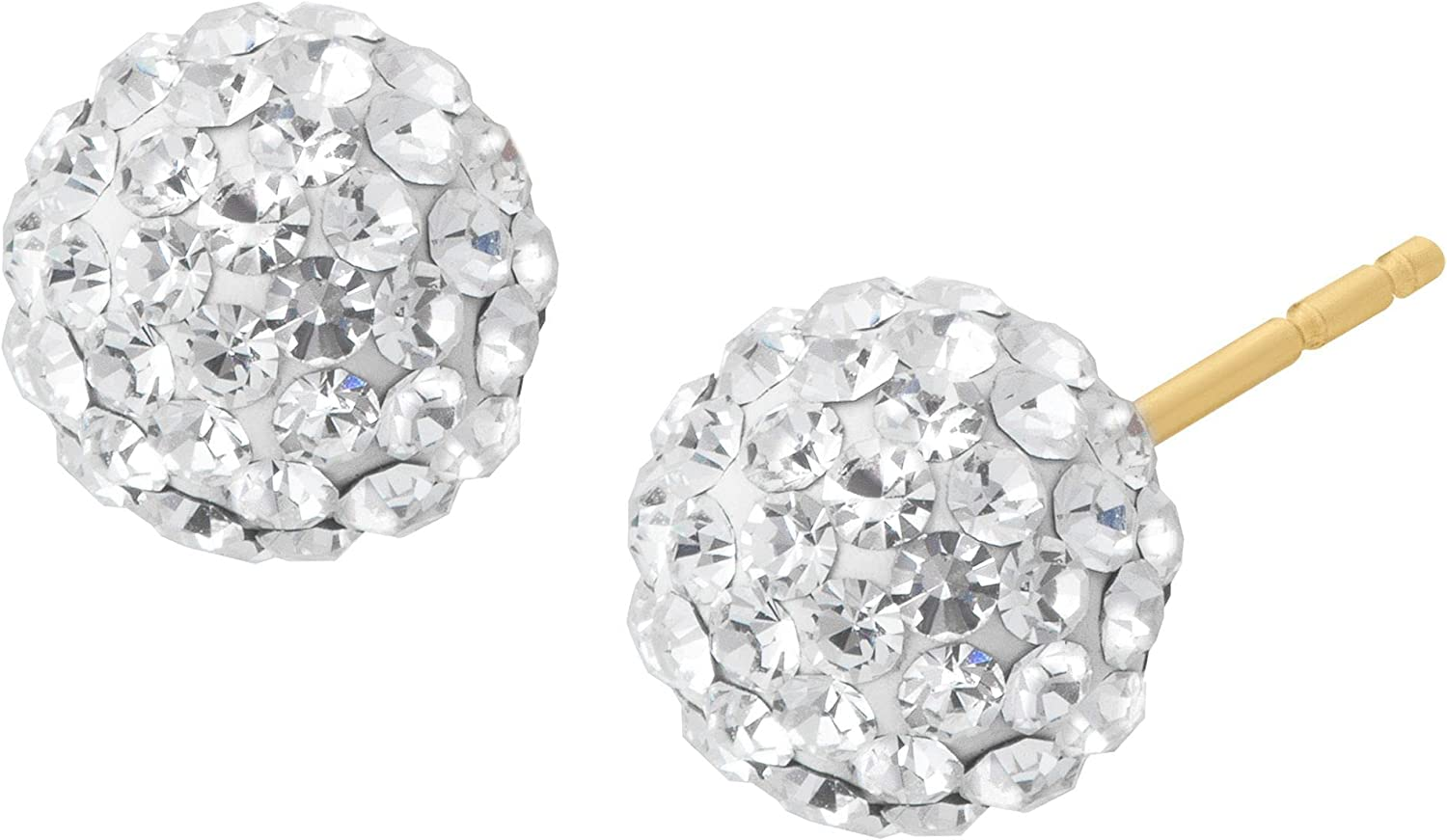 Crystaluxe Glitter Ball Stud Earrings with Crystals in 14K Gold