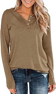 Topstype Henley - Camiseta de manga larga para mujer, con botones, estilo casual, holgada, cuello en V