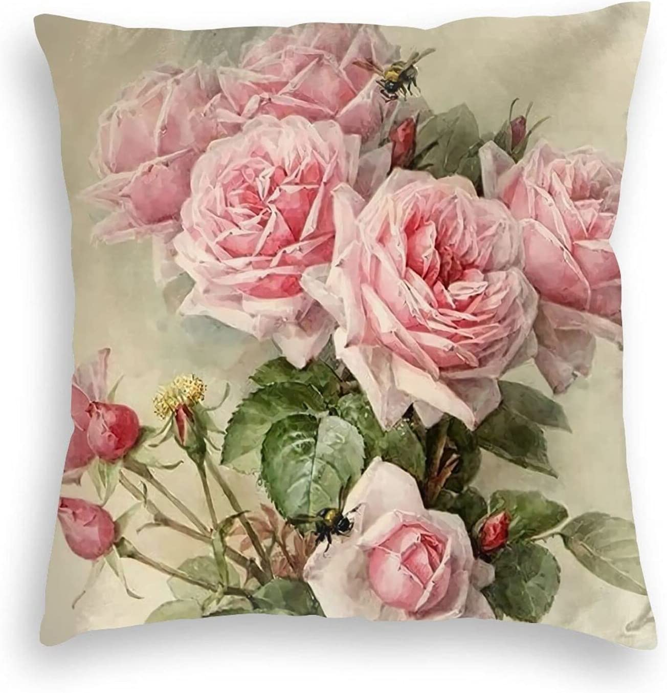 Emkoie Throw Pillow Covers Vintage Shabby Chic Pink Rose Floral Decorative Home Decor Pillow Cases Cushion Covers for Couch Sofa Bed 18x18 Inch