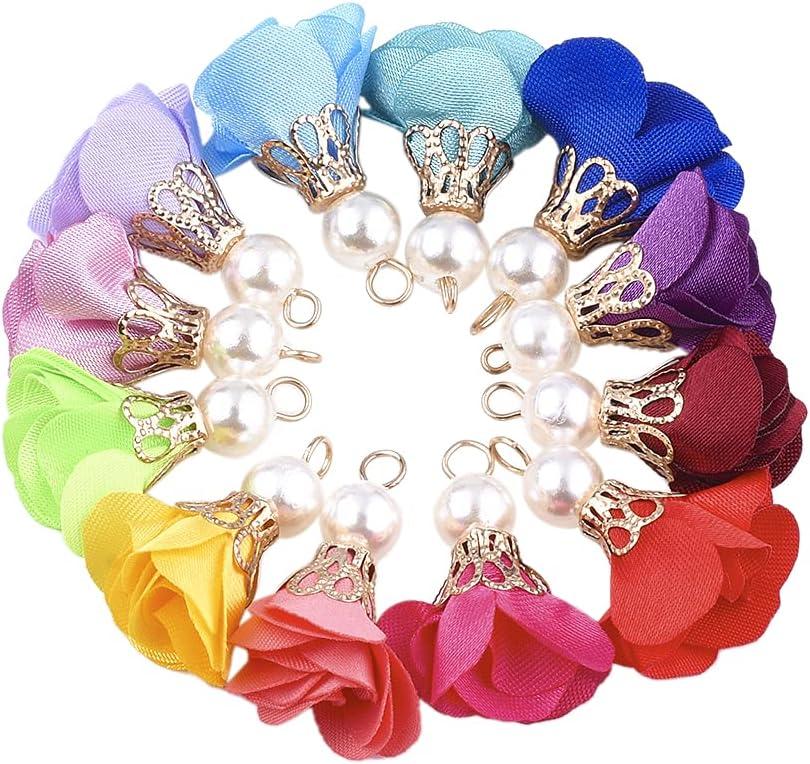 Cheriswelry 200pcs Cloth Fabric Flower Virginia Beach Mall Pearl Pendants Fl Mesa Mall Acrylic