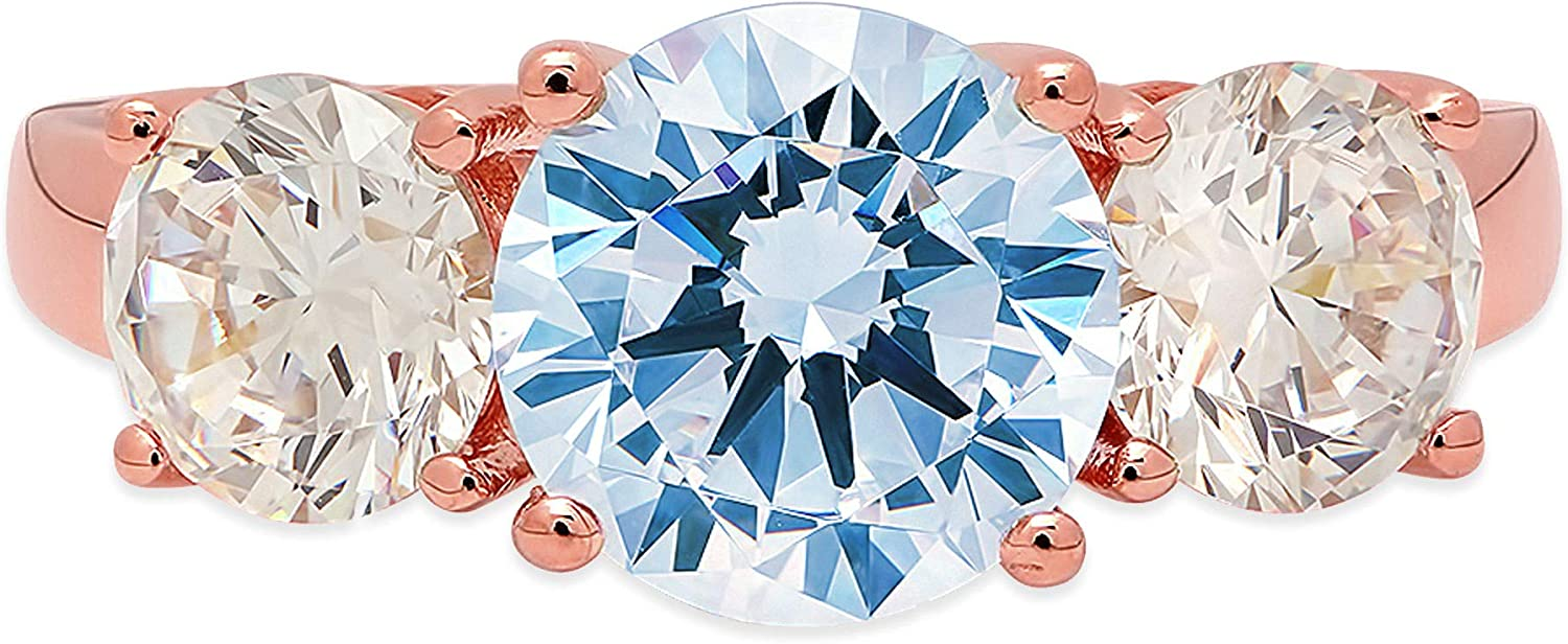 3.19ct Brilliant Round Cut Solitaire 3 stone Natural Sky Blue Topaz Gem Stone Ideal VVS1 Engagement Promise Statement Anniversary Bridal Wedding ring Real Solid 14k Pink Rose Gold