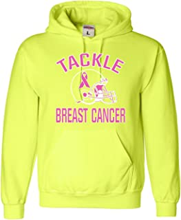 Go All Out Screenprinting Large Safety Green Adult Tackle Breast Cancer Football Sweatshirt Hoodie
