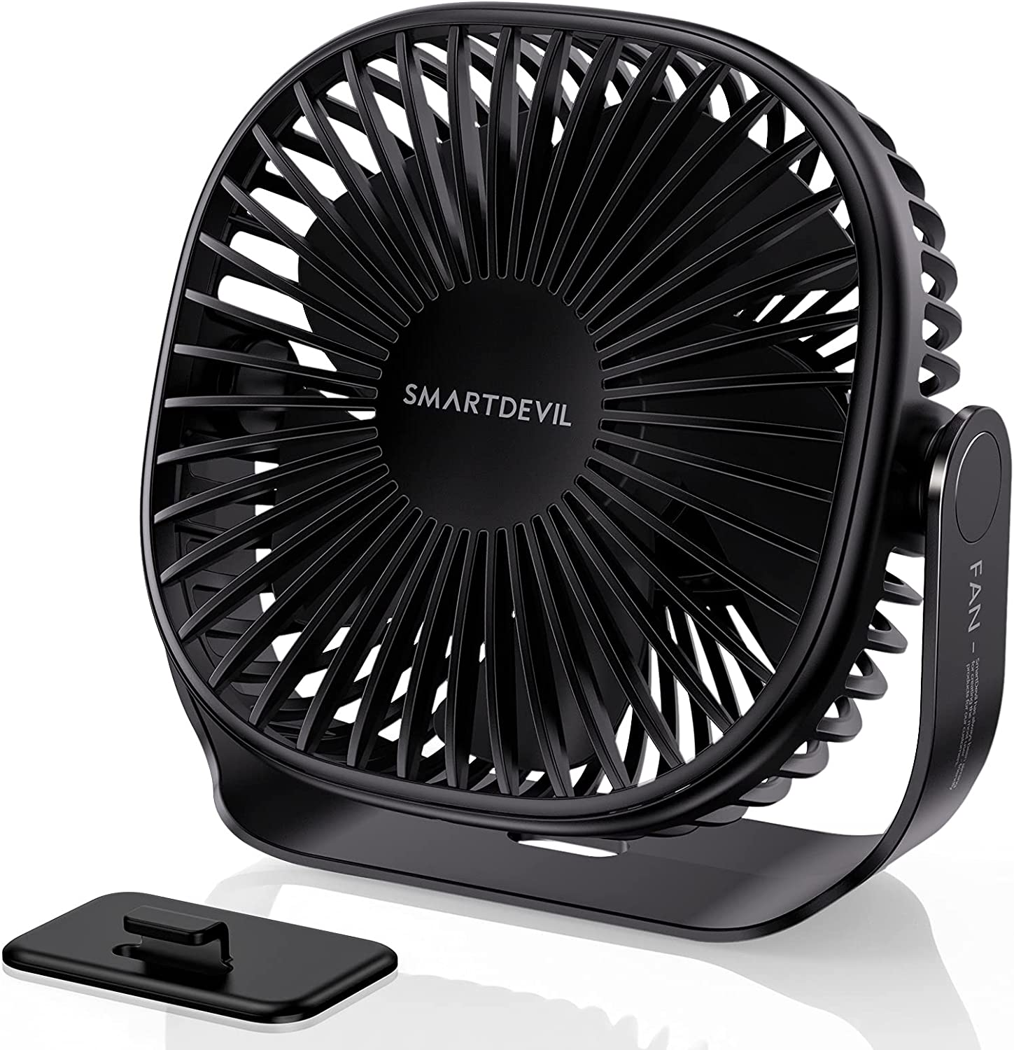 SmartDevil Small Rechargeable Desk Fan, 3 Speeds 2000mAh Portable Personal Battery Operated Desktop Fan with Pasteable Hook, Dual 360° Adjustment Quiet Table Fan, for Home Office Outdoor (Black)