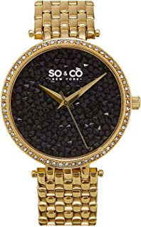 SO&CO New York Soho Women's Black Pave Dial Stainless Steel Band Watch - 5080.3