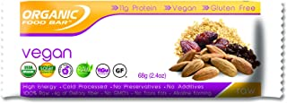 Organic Food Bar - Vegan Bars, Certfied Organic Vegan Protein Bars (Pack of 12, 2.4 oz)