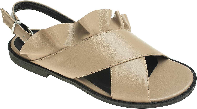 AnnaKastle Womens Ruffled Criss-Cross Slingback Flat Sandals