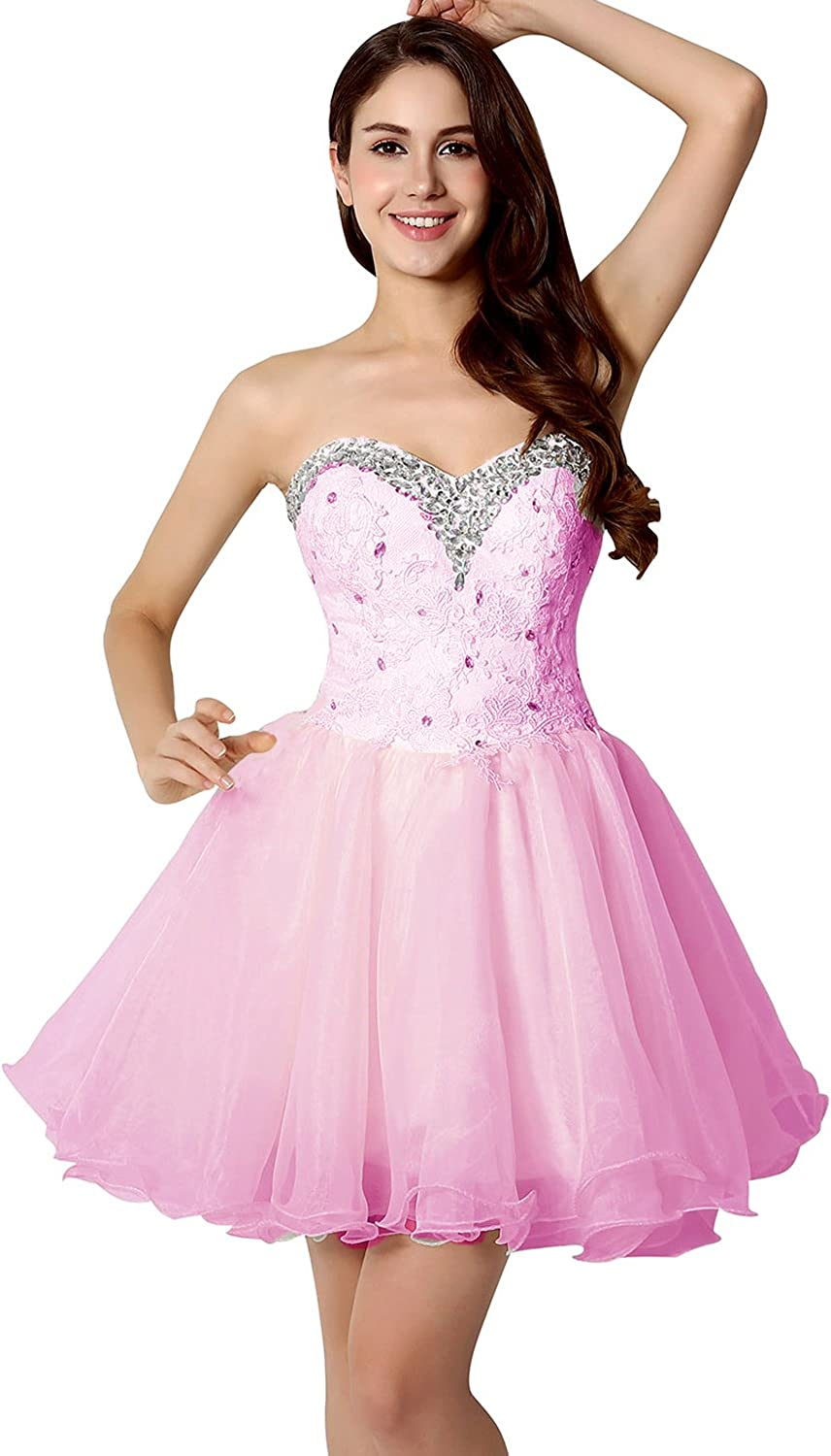 Belle House Tulle Homecoming Dresses for Juniors Short Prom Party Dresses Beaded Graduation Ball Gown