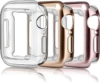 Vancle コンパチブル Apple Watch ケース 柔らかい TPU アップルウォッチ カバー 超薄型 全面保護ケース 防水 防塵 耐衝撃 (Series6/5/4 40mm, クリア+ローズゴールド+ローズピンク)