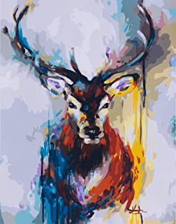 (Colorful Deer, Frameless,Just Cancas) - [Frameless] Diy Oil Painting, Paint By Number Home Decor Wall Pic Value Gift Colo...