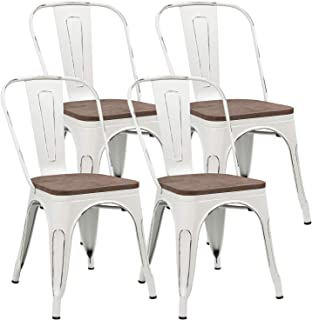 JUMMICO Metal Dining Chair Stackable Industrial Vintage Kitchen Chairs Indoor-Outdoor Bistro Cafe Side Chairs with Back and Wooden Seat Set of 4 (White)