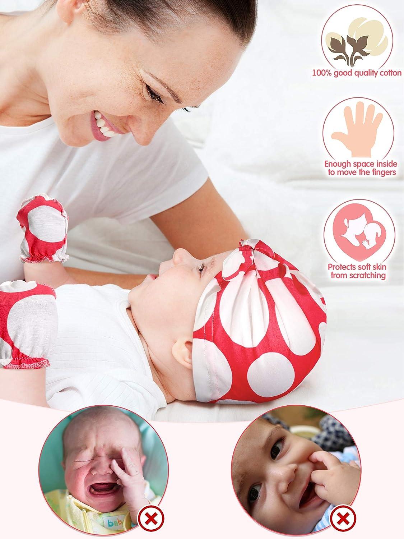 12 Pieces Newborn Baby Beanie Hats Bow Hat Cotton Mittens Gloves Set No Scratch Gloves Hats for 0-6 Months Baby Boys Girls