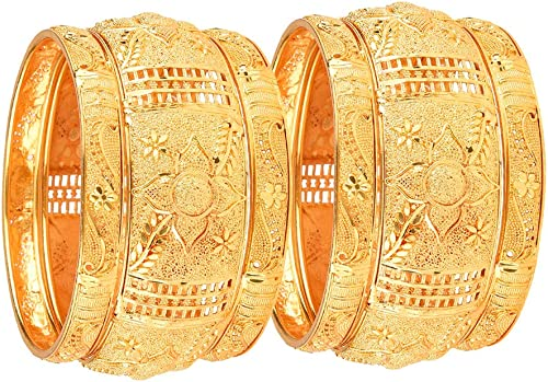 Zeneme Fashion Jewellery Traditional Gold Plated Original Gold Look Wedding Bracelet Bangle Set of 6 Bangles Jeweller...