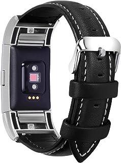 Fullmosa Fitbit Charge 2 Correa, Correa/Pulsera/Banda/Band/Strap para Fitbit Charge 2,Correa de Cuero, de Repuesto con Conector de Acero Inoxidable, Negra