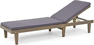 Great Deal Furniture Yvette Outdoor Acacia Wood Chaise Lounge and Cushion Set, Gray and Dark Gray