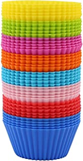 GWHOLE 40 Pack Silicone Baking Cups Reusable Non-Stick Silicone Cupcake Liners Muffin Molds