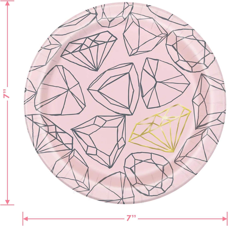 Serves 16 Bridal and Bachelorette Party Supplies Blush Pink Metallic Diamond Ring Paper Dessert Plates and Beverage Napkins