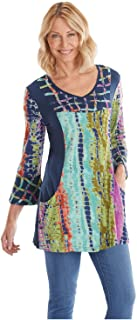 Women's Tie-Dye Tunic Top - V-Neckline, 3/4 Length Bell Sleeves