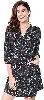 Women's Floral Print Button Down V Neck 3/4 Sleeves Side Pockets Vintage Dress
