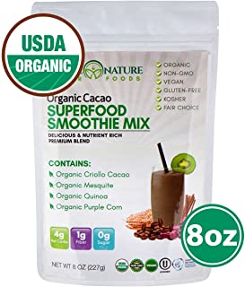 Madre Nature Superfood Blend Chocolate | Organic Cacao Powder | Energy Booster | +4 Superfoods | 100% USDA Organic, Vegan, Gluten Free, Kosher, Non GMO, 8 oz