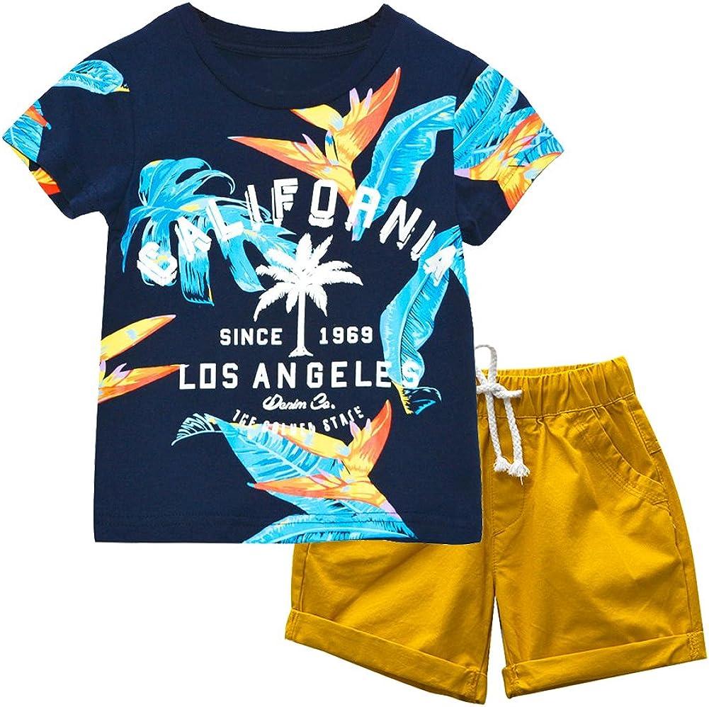 KISBINI Boys Summer Clothes Set T Shirt and Short Set California Outfits Short Sleeve Dinosaur Tshirt for Toddler Little Boy