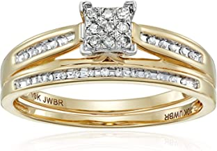 Jewelili 10kt Yellow Gold Square Center Diamond Bridal Ring Set (1/7 cttw)