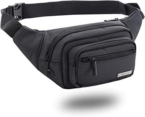 Waist Bag For Men Women Fanny Pack For Hiking Travel Camping Running Sports Outdoors Adjustable Strap Water Resistant Polyester Headphone Hole Money Belt Carry Any Phone Passport Wallet Dark Grey