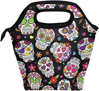 Wamika Lunch Bag Sugar Skull Flowers Rose Daisy Insulated Cooler Thermal Lunch Bag Box for Kids School Children Students Girls Boys,Mexican Day Of The Dead Skull Love Heart Lunch Box Handbag Woman Man