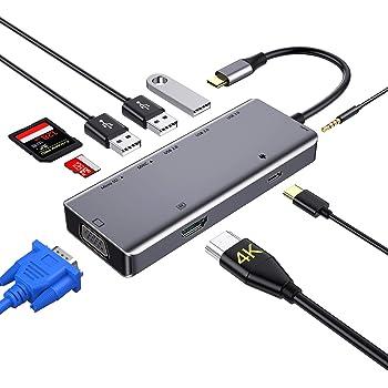 USB C ハブ, 9in1 Type C ハブSDカードリーダー USB C to HDMI VGA 変換アダプタ[HDMI 4K解像度 VGA 60HZ 同時表示/5Gbps MicroSD&SDカードリーダー/3つのUSBポート/Type C PD充電ポート/3.5mmオーディオ, USB Type C 変換アダプタ MacBook Pro 2017/2018、ChromeBook他対応