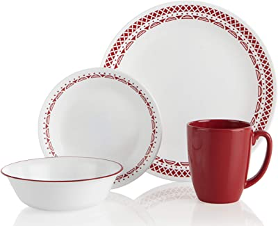 Corelle Cordoba Chip & Break Resistant 16pc Dinner Set, Service for 4, Vitrelle glass