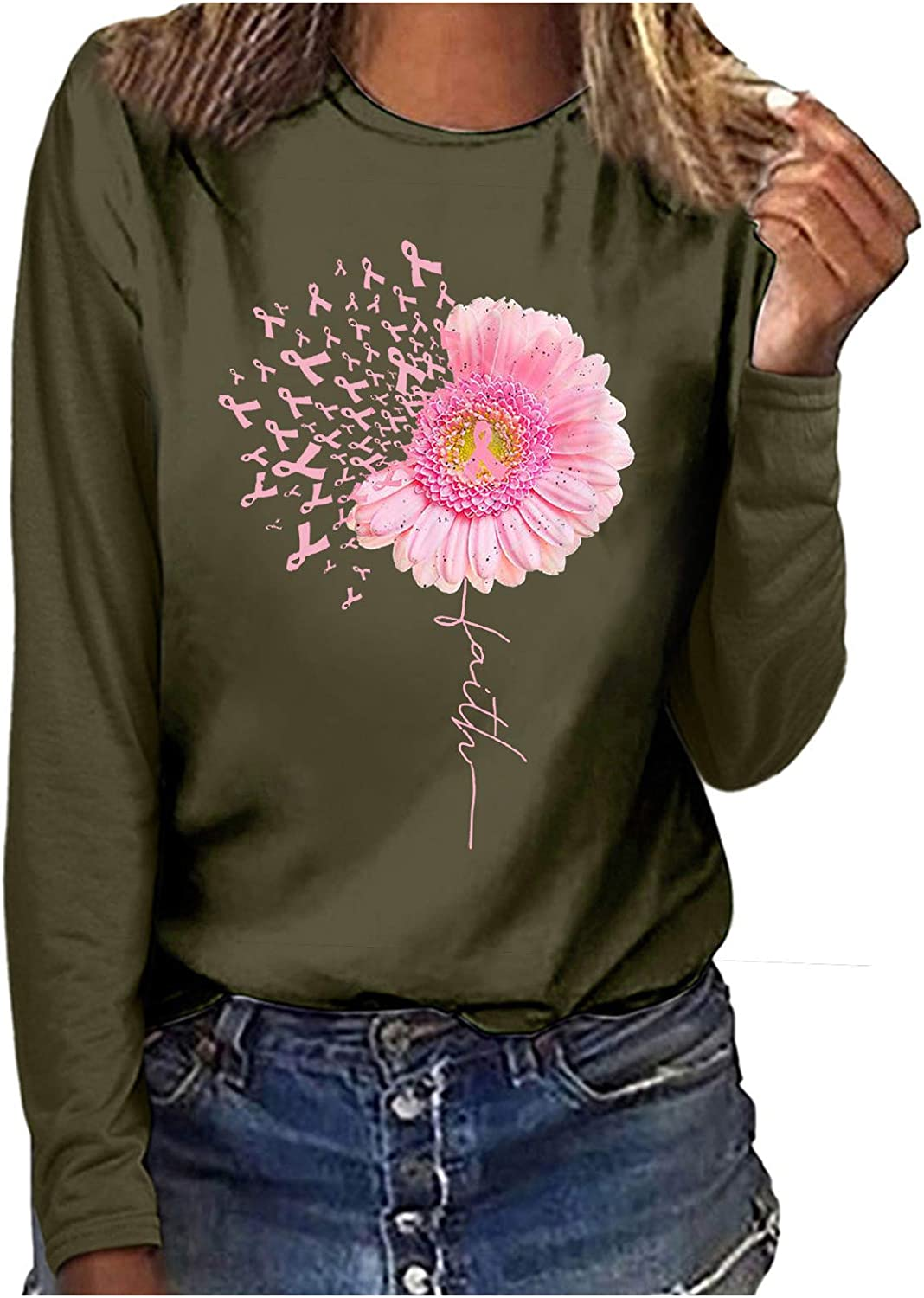 Sweatshirts for Women,Women's Casual Sunflower Printed Long Sleeve Loose Crewneck Cute Pullover Tops Shirts