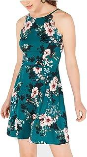 BCX Womens Fit & Flare Floral Print Halter Dress