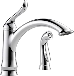Delta Faucet Linden Single-Handle Kitchen Sink Faucet with Side Sprayer in Matching Finish, Chrome 4453-DST