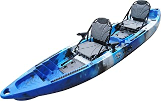 BKC TK122 12.9' Tandem Fishing Kayak W/Upright Aluminum Frame with Backrest Support Seats, Paddles, 4 Rod Holders Included 2-3 Person Angler Kayak