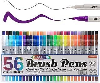 Shuttle Art 筆ペン 水彩毛筆 56色 水彩ペン アートマーカー 水性 ブラシペン 極細ペン ツインマーカー 耐水 速乾 イラスト 塗り絵  落書き コミック 絵手紙 カード 美術 宿題