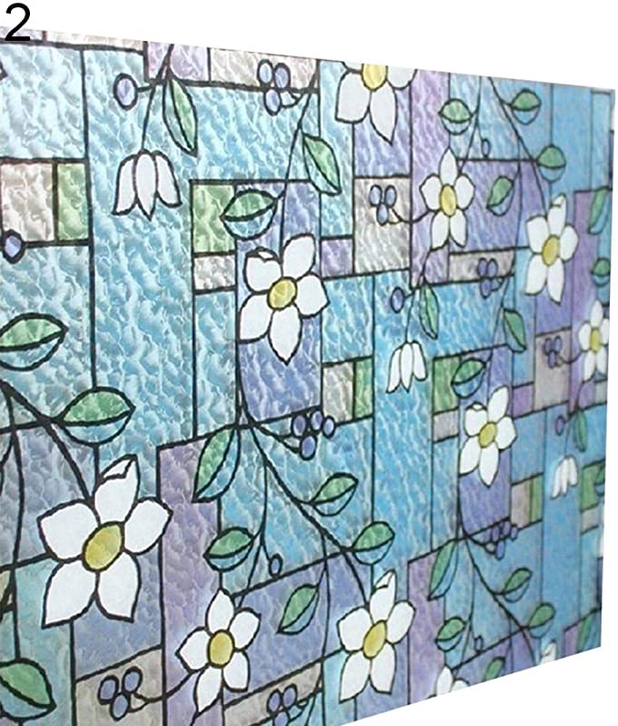 Chicoco PVC Privacy Window Stickers Wall Stickers 45x100cm Orchid Window Film PVC Stained Glass Home Privacy Stickers DIY Decor 2