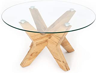 Ivinta Round Glass Coffee Tables for Living Room, 31.5 in Accent Coffee Side Tea Table with Natural Wood Frame and Tempere...