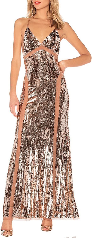 Bqueen Women's Mesh gold Sequin Backless Maxi Dress Party BQ1BH5317