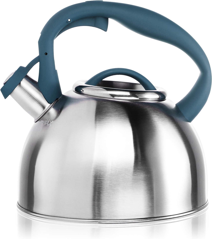 COM-FOUR® Hervidor de té de 2,4 L - Hervidor de agua grande de acero inoxidable - Hervidor para hervir agua - Hervidor retro con práctico mango (01 pieza - 2,4 litros - azul)