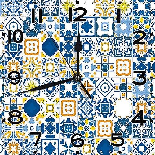 77 xiochgzish Quadratische Uhr Mosaik Portugiesisch Azulejo Mittelmeer Arabesque Effekt Violetter Senf Silent Home Office Dekor Nicht tickendes Uhr Büro