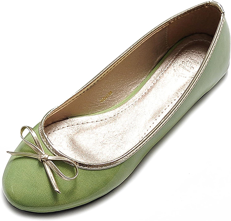 Ollio Womens Ballet shoes Cute Enamel Ribbon Accent Multi color Flat