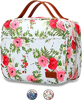 Hanging Travel Toiletry Bag,Large Capacity Cosmetic Toiletry Travel Organizer for Women/Men with 4 Compartments & 1 Sturdy Hook,Perfect for Travel/Daily Use (Navy Blue & White Striped) (Floral)