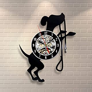 Wood Crafty Shop Dog Home Pat Design Clock Vinyl Record Wall Clock Gift for Him and Her Unique Wall Decor The Best Gift Idea for Any Event Birthday Gift, Wedding Gift