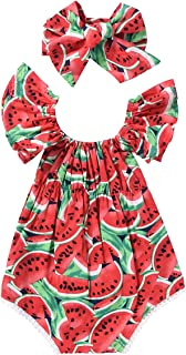 Newborn Baby Girls Watermelons Printed Ruffle Bodysuit with Headband