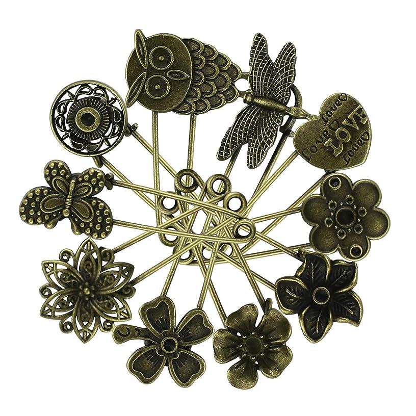 10PCS Fireboomoon Bronze Vintage Hijab Pins /Brooch Pins/Safety Steampunk Findings Brooch Pins,pattern Hijab Pins,Bronze Pins,Bronze Brooch Pins,Bronze Safety Pins