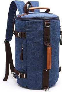 Fresion Weekender Tasche,Vintage Segeltuch Schultertasche Canvas Rucksäcke Reisetasche Sporttasche Duffle Bag Handgepäck Tasche für Herren DamenDunkelblau